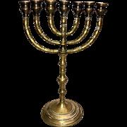19c Jewish Brass Menora Candleholder