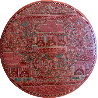 Oriental Red Lacquer Fine Carved and Hand-Painted Papier-Mâché Vanity Box