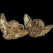 Set of Two Bronzed Cupids- Doorstops