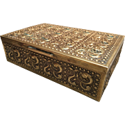 Brass Repousse Cigar Humidor Box c.1900