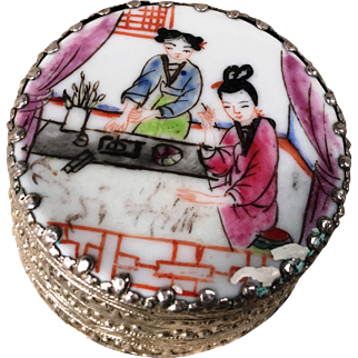 Chinese Silver- Porcelain Round Mirror Trinket