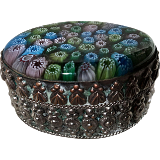 Silver plated Copper Trinket Box with Murano Millefiori Frozen Flowers Lid