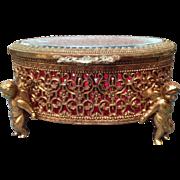 Vintage Vanity Filigree Jewelry Casket Small