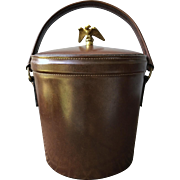 Eagle Vintage Leather Ice Bucket with Set of Barware Accessories
