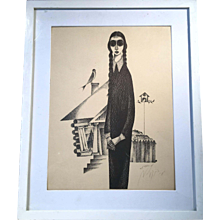 Signed Jewish Artist's Lithograph of a Jewish Girl