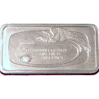 Vintage Sterling Silver Franklin Mint 10th Anniversary America In Space 925 Bar
