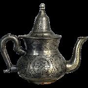 Collectible Silver-Copper- Pewter Tea Pot circa 18-19c