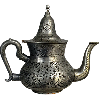 Collectible Silver-Copper- Pewter Tea Pot circa 18-19c