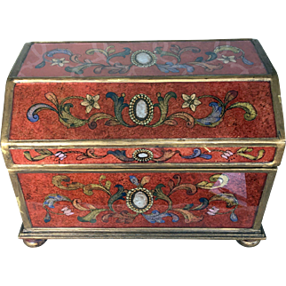 Treasure Casket Box Made of Hand Painted on Reverse Glass Panels