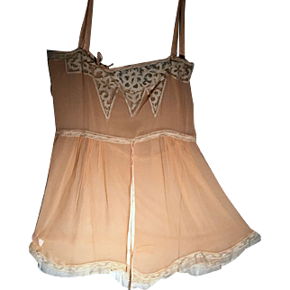 1920s Peach Color  Lingerie Step In Silk Teddy With Delicate Lace