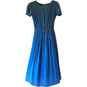 Neiman Marcus Vintage Cobalt Blue Silk Dress