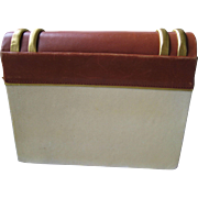Paloma Picasso-Vintage Book-Shaped Off-White, Brown, Gold- Handbag Shoulder Clutch From 1980s