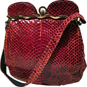 Snake Skin Dark Pompeian or Corrida Red Color Vintage Purse from 50's