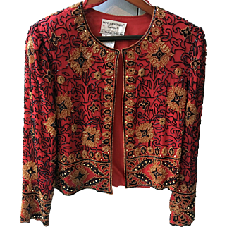 Papell 'Boutique' Evening '1994' Red Chiffon with Micro Glass Beading Jacket