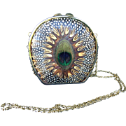 Pheasant & Peacock Feathers Gold Color Metal Evening Bag