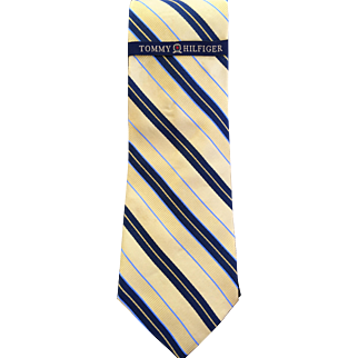 Tommy Hilfiger Silk Rep Tie- Yellow- Navy- Light Blue