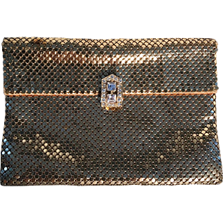 Vintage Mesh WHITING & DAVIS CO Gold Metallic Evening Clutch