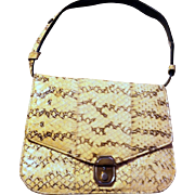 Yellow Snake Skin- Black Quality Leather Handbag-Shoulder Bag