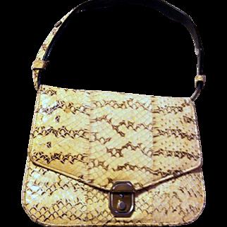 Yellow Snake Skin- Black Quality Leather Handbag-Shoulder Bag