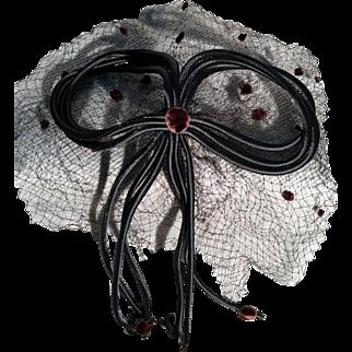 J. Magnin Black Silk- Brown Velvet Dots Mesh Bow Fascinator