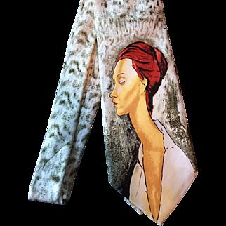 Art Necktie from Reflets D'Art Silk Vintage Designer Tie