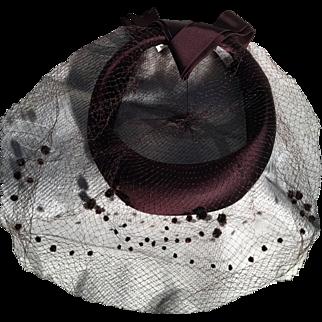 Vintage I. Magnin Brown Felt Tablet Hat with Veil