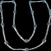Modernist Long Silver Necklace 1960s