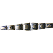 Native American Handmade Mexico Silver Aztec Mayan Calendar Carved Wide Link Bracelet c. 1900