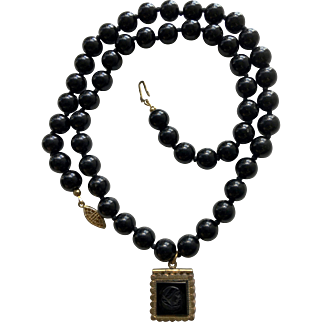Onyx Beads Necklace with Victorian Gold Plated Square Bakelite Locket - Pendant