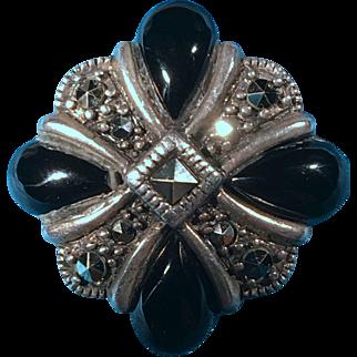 Sterling Silver Onyx Marcasite Brooch