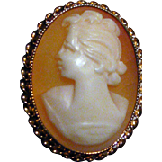 10k Carved Gold And Shell Cameo Ring BDA 10K