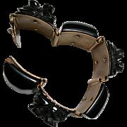 Black Bakelite Carved Bracelet  c.1930