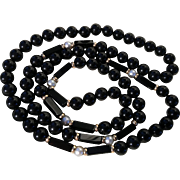 Fine Onyx, Pearls, Gold-filled beads Necklace