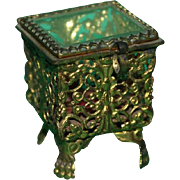Pretty Miniature Filigree And Ormolu Glass Topped Trinket Ring Box With Claw Feet