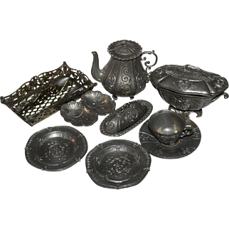 Vintage Dolls Pewter Tea Set And Dinner Accessories Tea Pot Tea Cup And Saucer Tureen Cutlery Tray And Cutlery