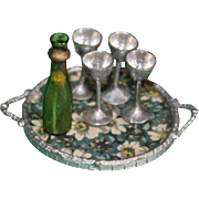 Dolls House German Tray Bottle And Goblets