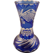 Cobalt Blue Cut to Clear Bohemian Glass Vase