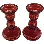 Ruby Red Bohemian Glass Cut to Clear Candle Holders