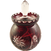 Cute Dark Red Bohemian Glass Jelly Jar with Lid