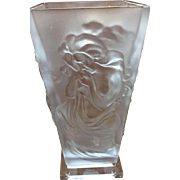 Art Deco Style Frosted Vase with Nude Woman