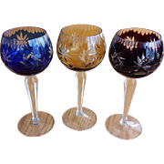 3 Gorgeous Bohemian Glass Wine Glasses