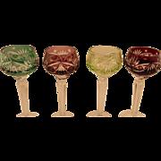 Set of 4 Bohemian Glass Wine Glasses
