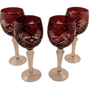 4 Beautiful Red Bohemian Glass Cut to Clear Wine Glasses