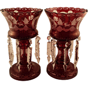 Ruby Red Bohemian Glass Vases