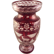 Beautiful Antique Ruby Red Bohemian Glass Cut to Clear Vase