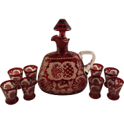 Ruby Red Bohemian Glass Decanter with 8 Shot Glasses