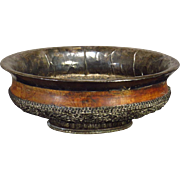 Large 19th C. Tibetan Chased and Repousse and Wood Bowl