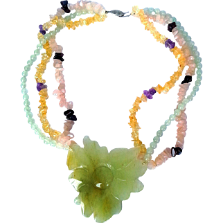 1970's Natural Gems Necklace  Hand Carved Aventurine Flower Rose  Quartz, Yellow Quartz Light Green  Chalcedony Beads