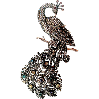 Joan Rivers  1990's Signed  Rare  Collectible Magnificent Peacock  Antique Bronze Swarovski Crystals Large Brooch