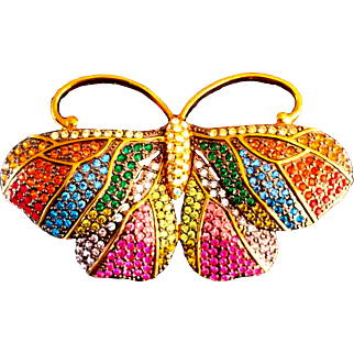 Joan Rivers-  Signed  1990's Sizable  Magnificent  Moth Swarovski Crystals  Rainbow Shades 18 KT GP Brooch
